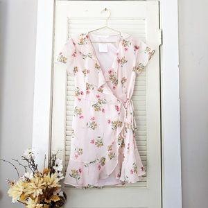 Lush Peach Floral Wrap Dress